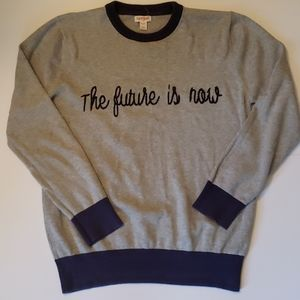 Boys XL The Future Is Now gray and blue sweater